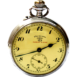Antique Pocket Watch F. BACHSCHMID Patent 27553 Open Face 1900c Working 50mm