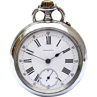 Antique Pocket Watch LONGINES Open Face Steel 1890c with 127 years Working 50mm