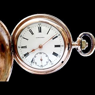 Antique Pocket Watch LONGINES Hunter Cal. 18.50 Art Deco 1910c Working 51mm