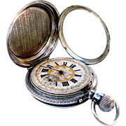 Antique Pocket Watch Hunter Ligne Droite Remontoir Art Nouveau Silver 55mm 1890c