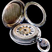 Antique Pocket Watch Hunter Ligne Droite Remontoir Art Nouveau Silver 55mm 1890c