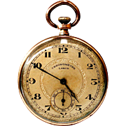 Antique Pocket Watch Swiss Chronometre LANCO Open Face Art Deco Micron Gold 1910c Working