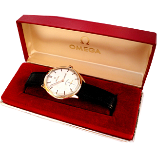 Vintage Watch OMEGA Classic Cal. 268 Solid Gold 18kt 0,75 Men 35mm 1950c Working