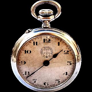 Antigue Pocket Watch Swiss Rosskopf Open Face 1920c Art Deco 51mm Working