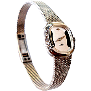 Vintage Watch France YEMA Sterling Silver 925 With Zircons Working 1960c Lady