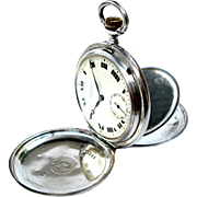 Antique Pocket Watch LONGINES Hunter Caliber 18.50 Solid Silver 1915c Working 50mm