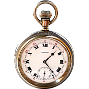 Antique Pocket Watch Swiss LONGINES Caliber 21.55 Open Face 58mm Working 1915c