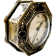 Vitnage Table Clock Swiss RALCO 8 Day Art Deco 1920c Working 58x25mm Octogonal