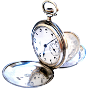 Vintage Pocket Watch Swiss OMEGA Hunter Art Deco Silver 900 Working 50mm 1920c