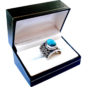 Elegant Vintage Ring Silver 925 and Turquoise Weight 11grs Lady