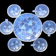 "Art Deco Arrers ""Hazelnuts"" (Andre DeLatte) Original Vintage Opalescent Glass Dessert bowl set c1930s"