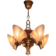 Vingage Art Deco 'Princess line' Bat wing 5 Light glass Slip Shade Chandelier Lamp Pendant Ceiling Fixture Lighting by Markel c1930s