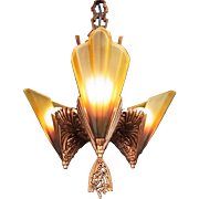 American Art Deco 'Soleure' Brown Tip Honey Glass 3 Slip Shade Chandelier original c1930s