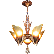 American Art Deco 'Soleure' Brown Tip Honey Glass 6 Light 5 Slip Shade Chandelier original c1930s