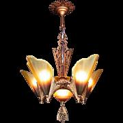 American Art Deco 'Soleure' Brown Tip Honey Glass 6 Light 5 Slip Shade Chandelier original c1930s