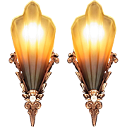 American Art Deco 'Soleure' Brown Tip Honey Glass Slip Shade Sconce set (pair) Chandelier original 1930s