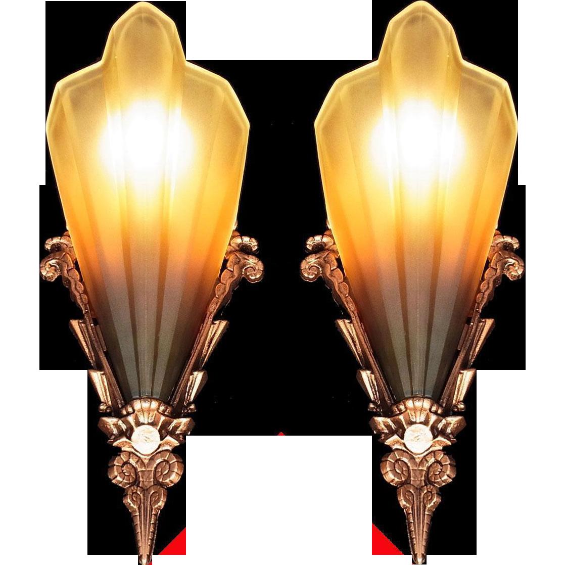 American Art Deco 'Soleure' Brown Tip Honey Glass Slip Shade Sconce set (pair) Chandelier original 1930s