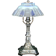 French Modernist Art Deco Chrome And Opalescent Glass Table Lamps By CSR Paris c1925