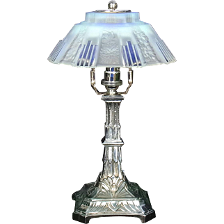 Set of 2 French Modernist Art Deco Opalescent Glass and Chrome Table Lamps By CSR Paris c1925