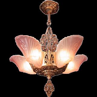 Art Deco Chandelier original pale pink color frosted glass 5 light Slip shade, antique bronze finish - ceiling fixture, c1930s