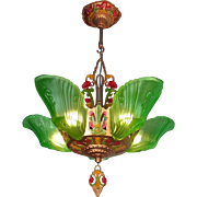American transitional Art Deco - Art Nouveau period green frosted glass 5 light Slip shade Chandelier by Markel c1920s