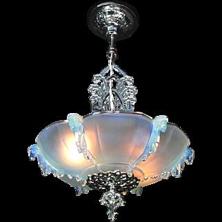 French Art Deco Chrome Pendant Lamp Light Fixture Chandelier Opalescent Glass Shade by 'Ezan' c1930s