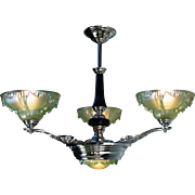 Art Deco French Chandelier chrome, black and iridescent green glass 4 light Slip Shade Antique Pendant Light Fixture by 'Ezan' c1930s