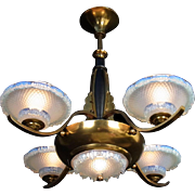 French Art Deco Opalescent Glass and Bronze 5 light Slip Shade Pendant Chandelier by 'Ezan' c1930s