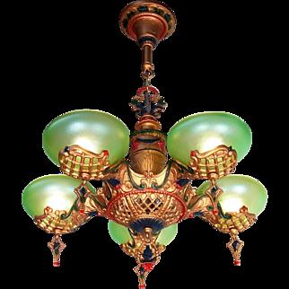 American Art Deco iridescent Green Glass 5 Light Slip Shade Chandelier by Gill lighting original c1930s