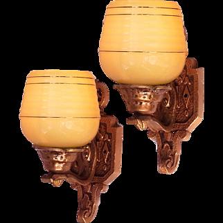Art Deco Gothic influenced Honey Glass Slip Shade Wall Lights Sconce Set c1930s (2 of)