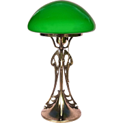 British Art Nouveau Table/Desk Lamp, Solid Brass w/ Domed Green Cased Glass Shade