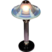 French Art Deco Opalescent Glass and Chrome table Lamp Pair By Jean Boris LaCroix and Verriers Ezan c1930s