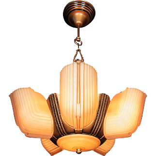 American Machine Age Art Deco Caramel Glass Frosted 6 Light 5 Slip Shade Chandelier Ceiling Fixture original c1940s