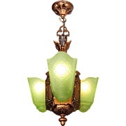 Art Deco Chandelier, lime green frosted glass 3 light Slip shade Moe Bridges 'Croydon', ceiling fixture, pendant c1930s