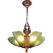 Art Deco chandelier pale green frosted glass 5 light Slip shade Moe Bridges 'Etruscan'  with 'Puritan' shades, pendant c1930