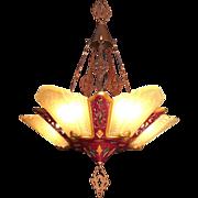 American Art Deco Iridescent Custard Glass 5 light Slip Shade Gothic influenced Chandelier by Virden original c1930s