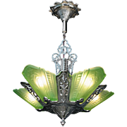 American Art Deco Chrome and Green Glass 5 light Slip Shade Chandelier by Virden original c1930s