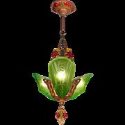 American transitional Art Deco - Art Nouveau period green frosted glass 3 light Slip shade Chandelier original c1920