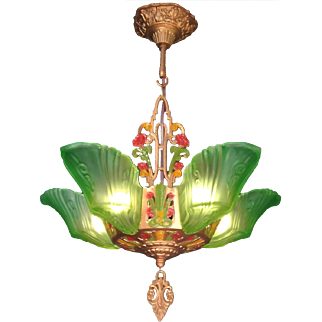 Genuine transitional Art Deco - Art Nouveau period green frosted glass 5 light Slip shade Chandelier by Markel c1920