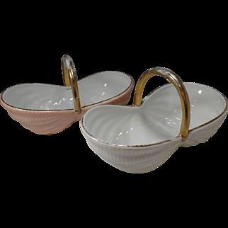 Vintage Limoges France, Porcelain, Pink & White with Gold Trim, Wicker Handle Baskets