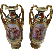 Pair of Vintage Gold Encrusted, Royal Vienna Austria Urns