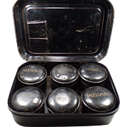 Vintage Spice Box with 6 Metal Canisters