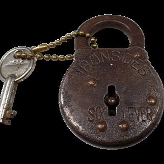 Antique 1905 Ironsides Six Lever, Cast Iron, Padlock With Key