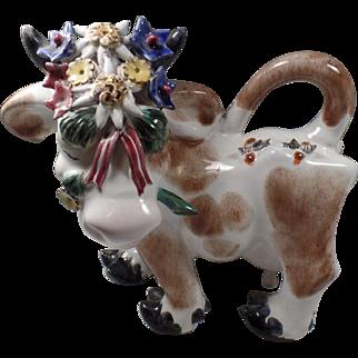 Vintage Art Deco Cow Figure, by  Leopald Anzengruber Keramik, Wien, Austria