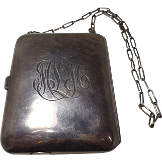 Antique 1915  Sterling Silver Compact on Chain