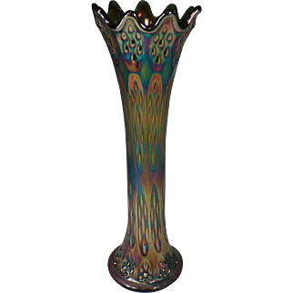 Vintage Carnival Glass Vase Marked with Cresent Moon Shaped C