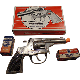 Vintage Hubley, Trooper repeating Cap Pistol in Original Box, With Vintage Caps.