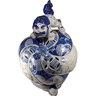 """Vintage Signed Chinese Blue & White Pottery Lantern 13.5"""" Tall"""