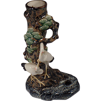 """Vintage, Chinese Figural Vase with 2 Cranes.   9.5"""" tall"""