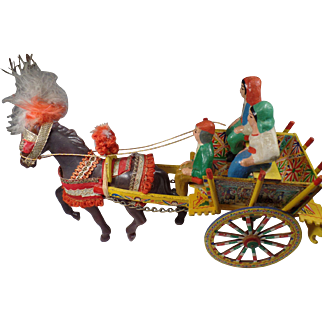 Vintage European Folk Art Wooden Wagon and Horse with Pottery Figures